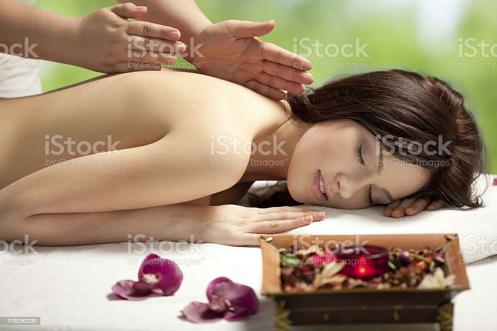 Young Woman Having Massage in Spa Salon royalty-free stock photo