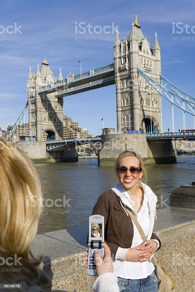 Young Woman Having Picture Taken On Cell Phone In London royalty-free stock photo