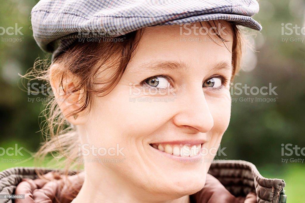 Young woman head shot stock photo