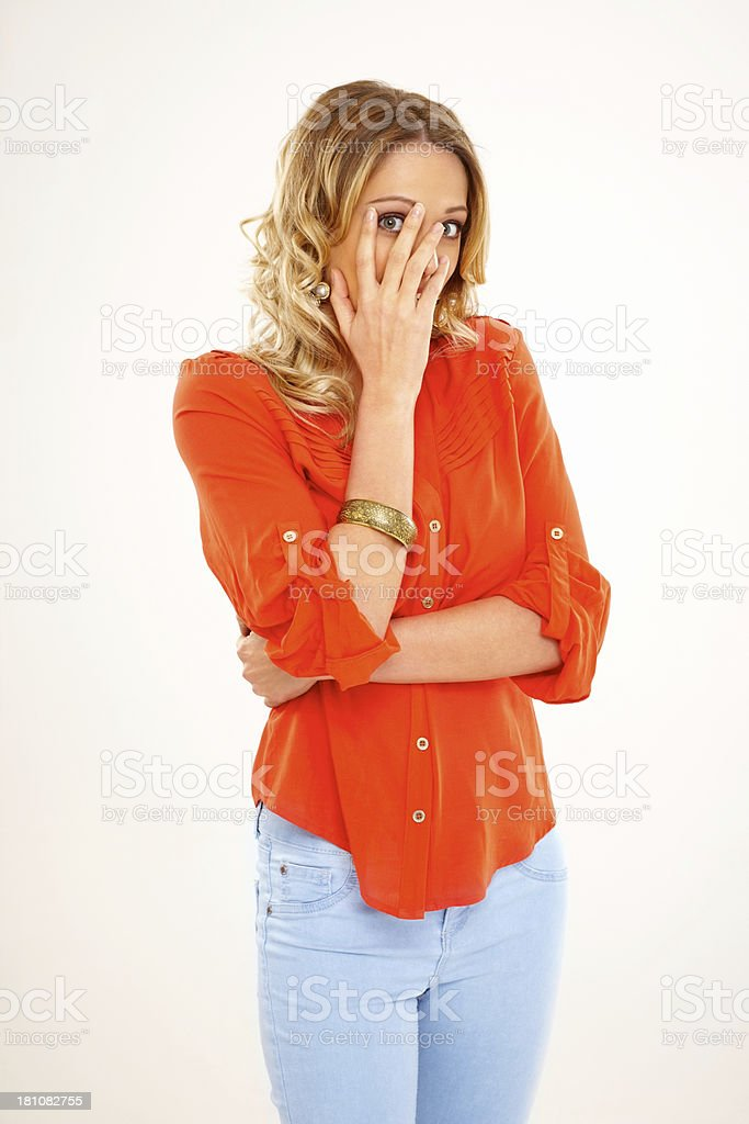 Young woman hiding her face royalty-free stock photo