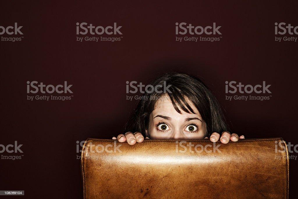 Young Woman hiding stock photo