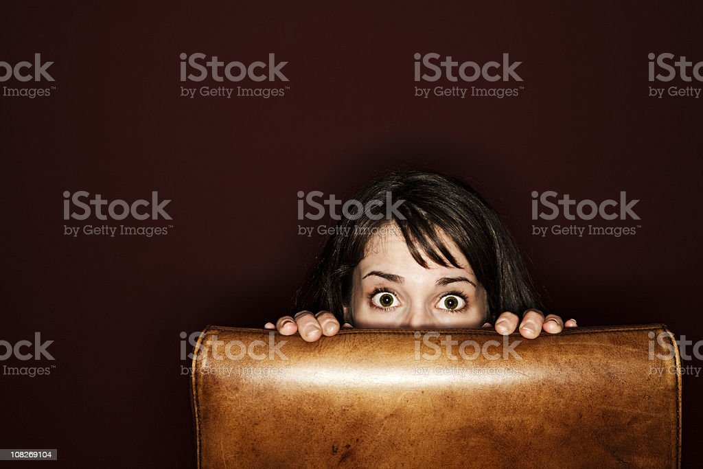Young Woman hiding stock photo