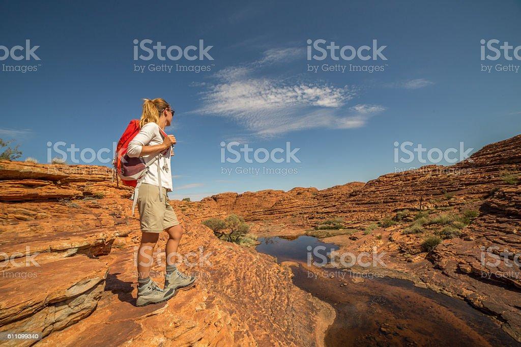 Young woman hiking in Australia stock photo