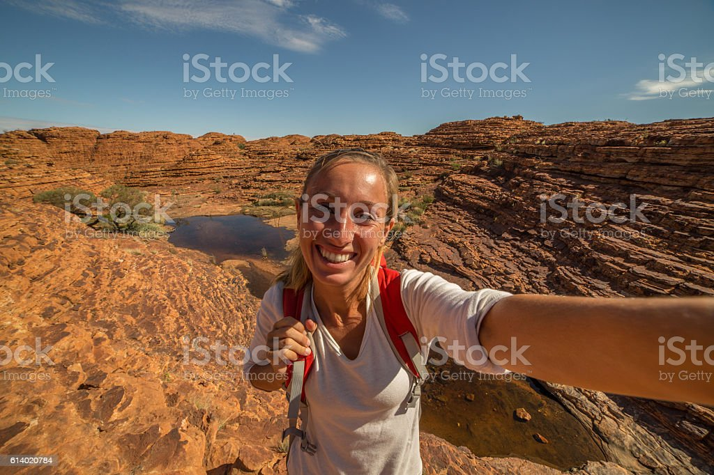 Young woman hiking in Australia take a selfie portrait stock photo