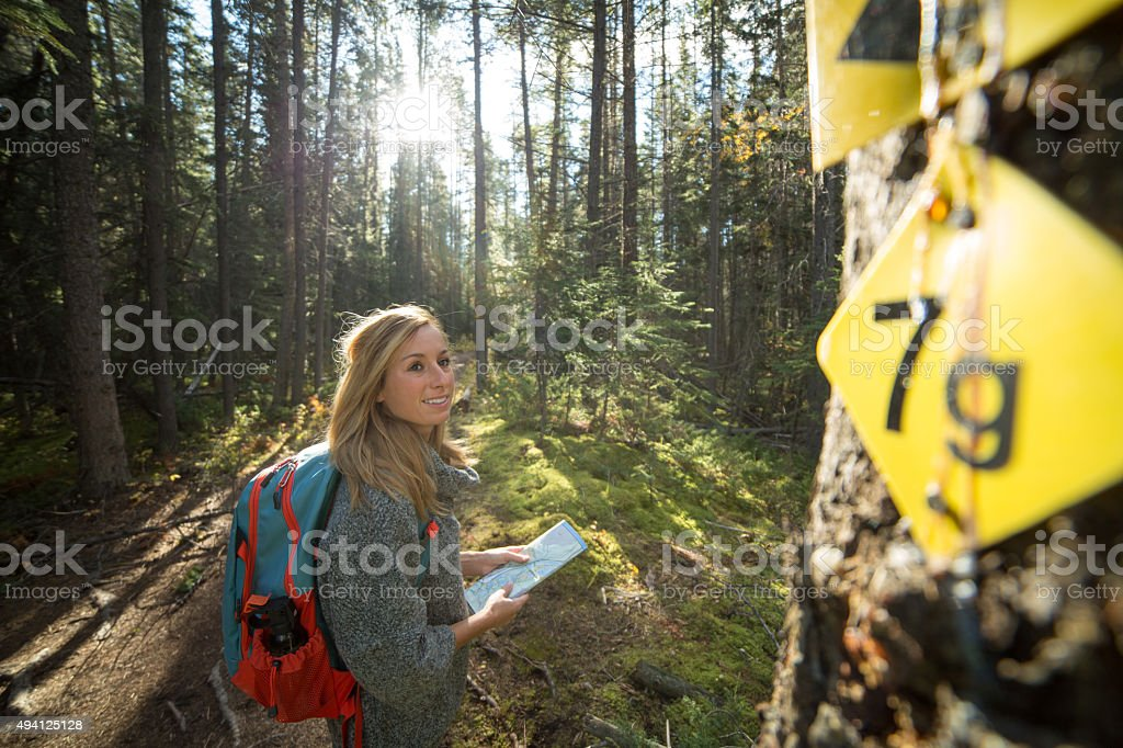 Young woman hiking in forest looking for directions on map. stock photo