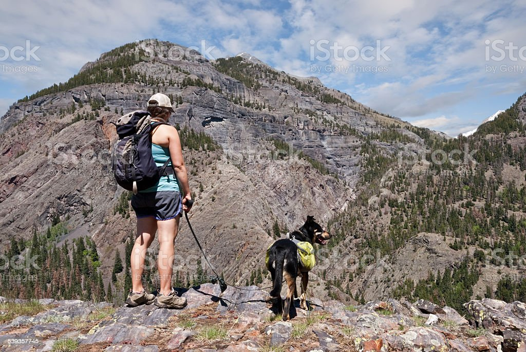Young Woman Hiking with a Dog stock photo