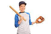 Young woman holding a baseball bat