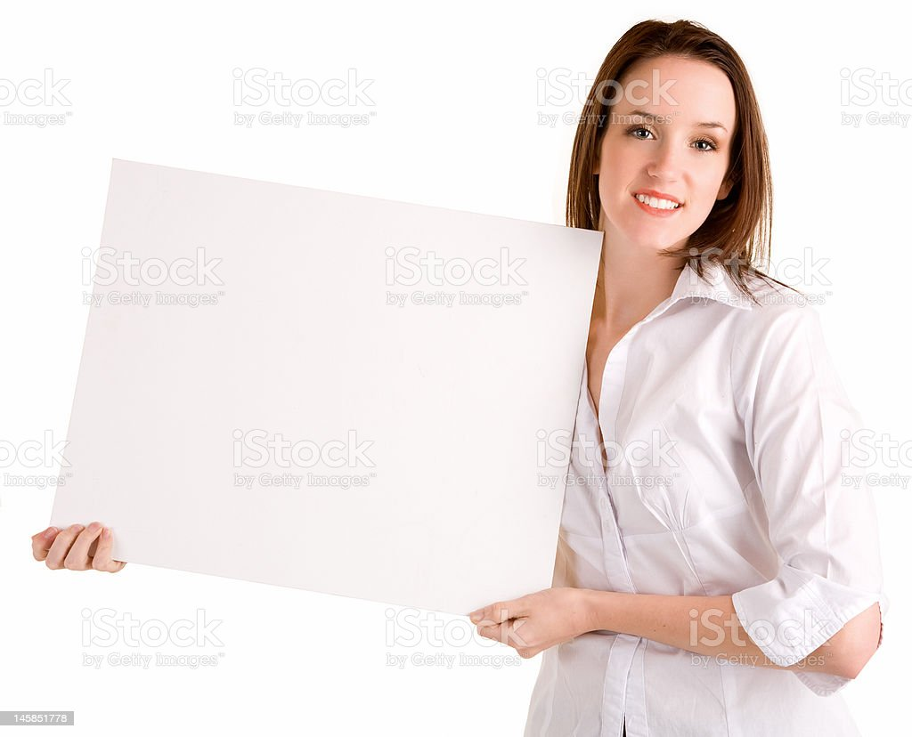 Young Woman Holding a Blank White Sign royalty-free stock photo