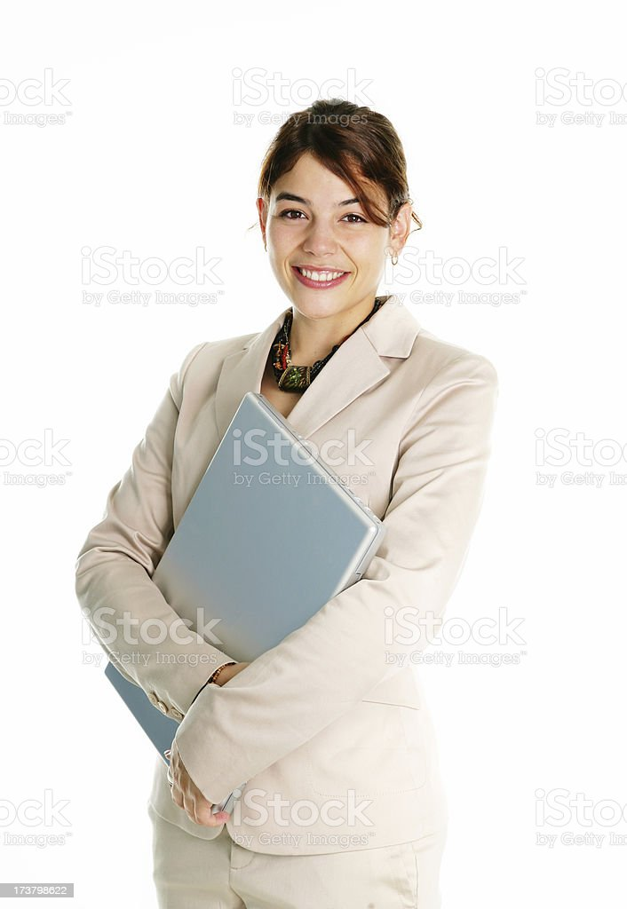 Young woman holding a laptop royalty-free stock photo