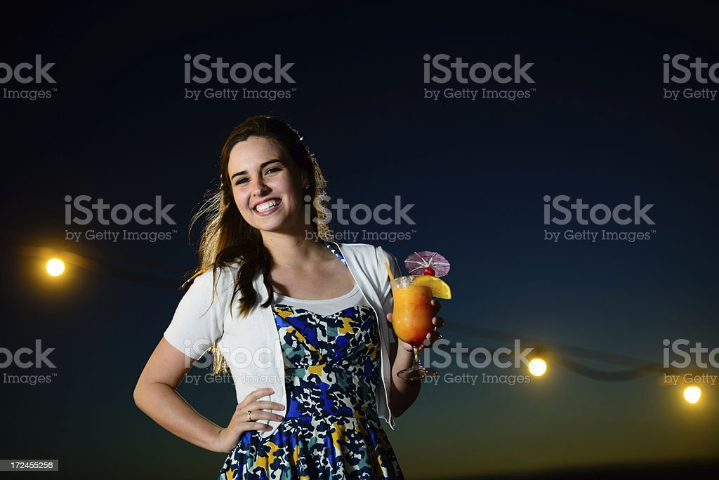 Young woman holding a margarita royalty-free stock photo