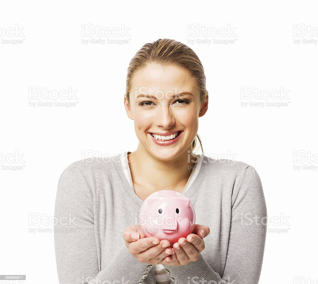 Young Woman Holding a Piggy Bank - Isolated royalty-free stock photo