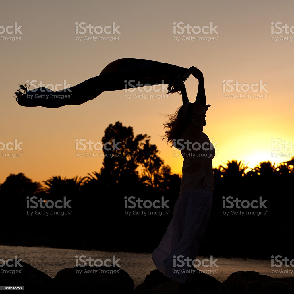 Young woman holding a scarf on the beach at sunset royalty-free stock photo