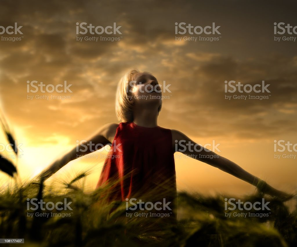 Young Woman Holding Arms Out in Corn Field royalty-free stock photo