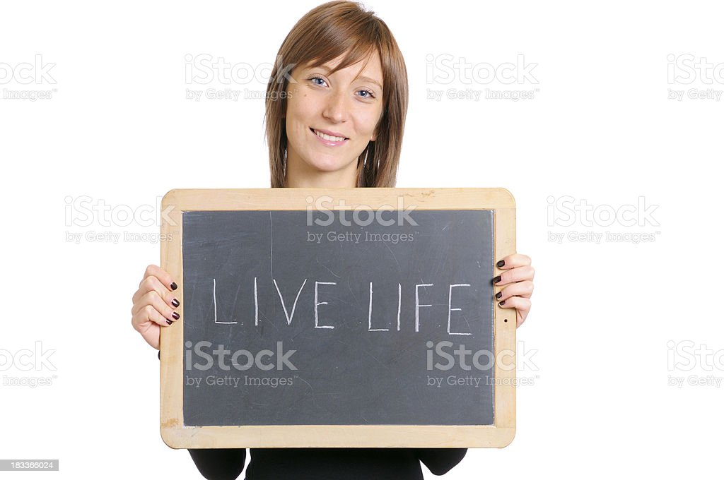 Young Woman Holding Blackboard W Live Life Message royalty-free stock photo