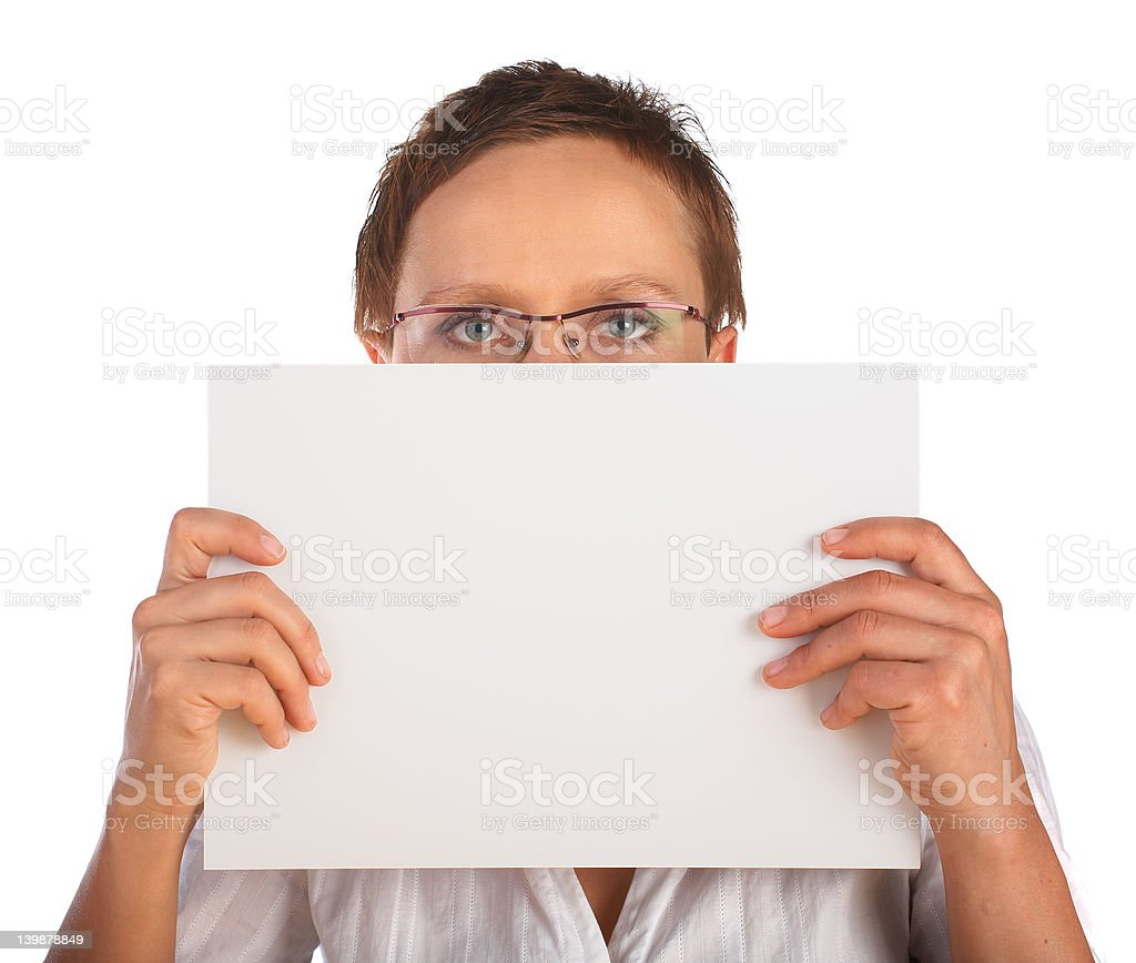 Young woman holding blank billboard royalty-free stock photo
