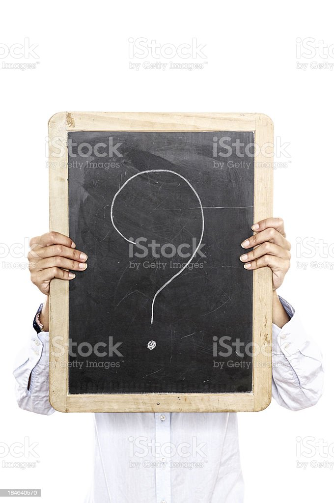 Young Woman Holding Blank Blackboard in Front Of Face royalty-free stock photo