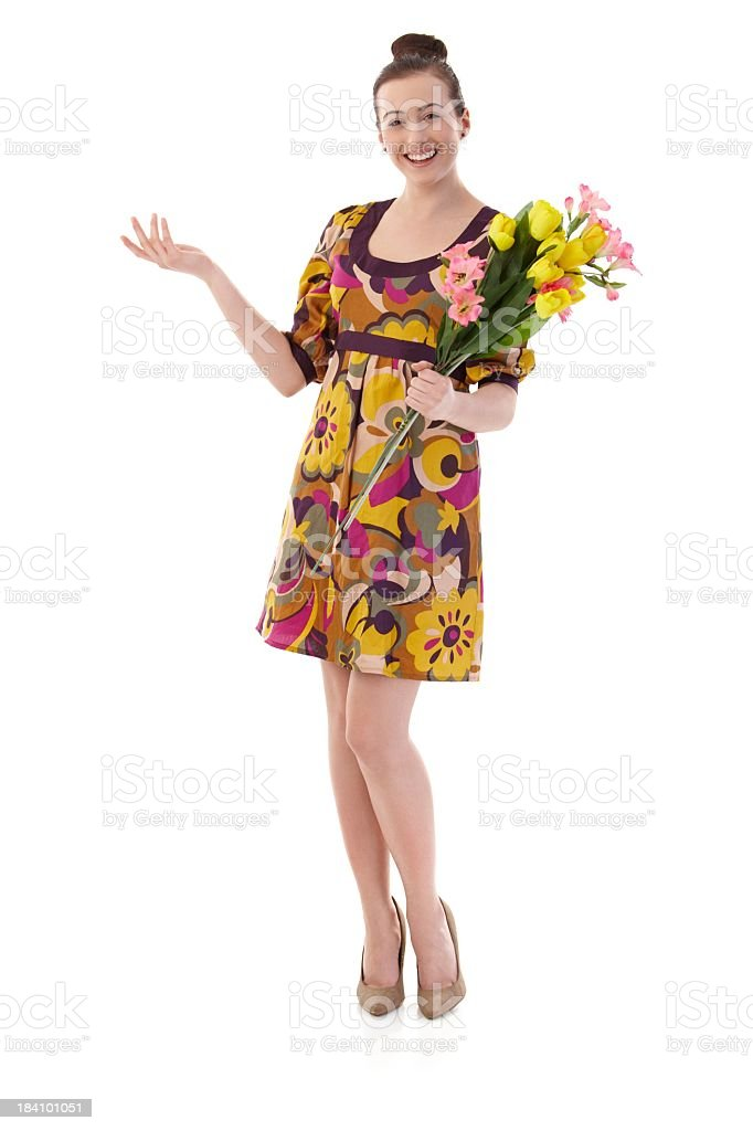 Young woman holding bouquet royalty-free stock photo