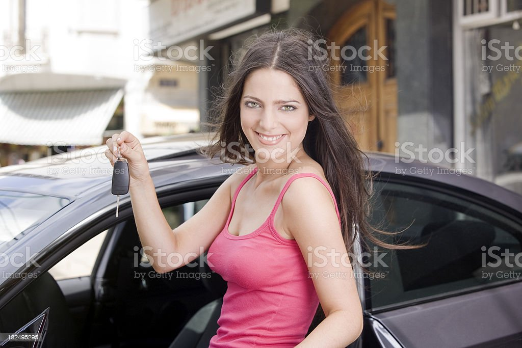 Young Woman Holding Car Keys royalty-free stock photo