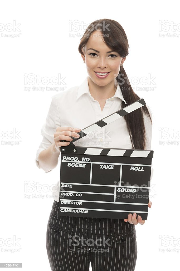 Young Woman Holding Clapperboard royalty-free stock photo