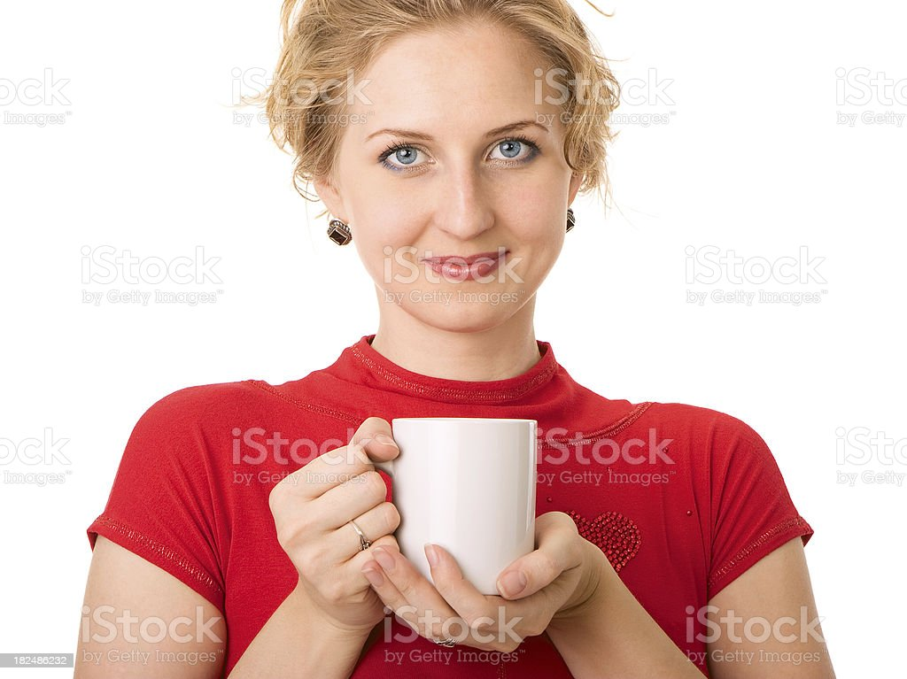 Young woman holding cup of tea royalty-free stock photo