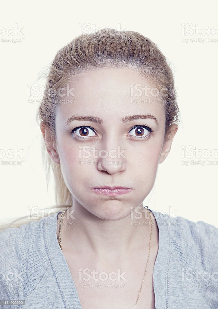 Young Woman Holding Her Breath stock photo