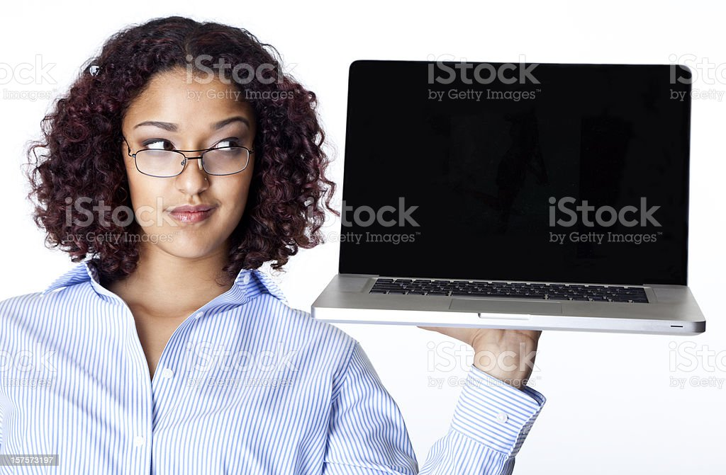young woman holding laptop like a tray royalty-free stock photo
