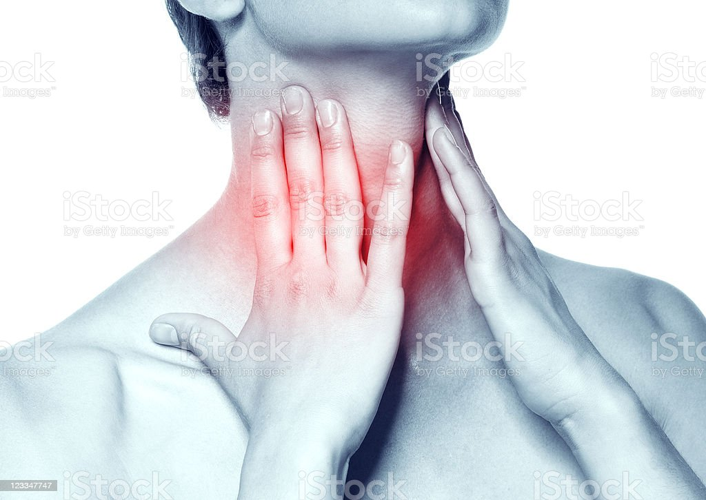 Young woman holding neck with red signifying pain royalty-free stock photo