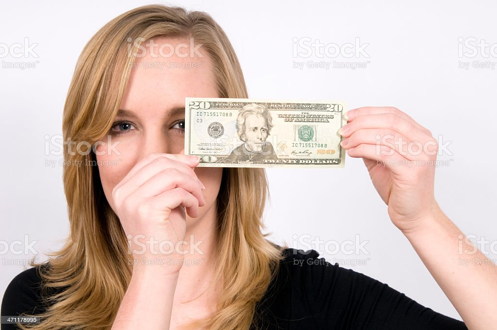 Young woman holding paper note royalty-free stock photo
