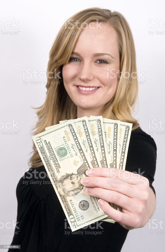Young woman holding paper notes royalty-free stock photo