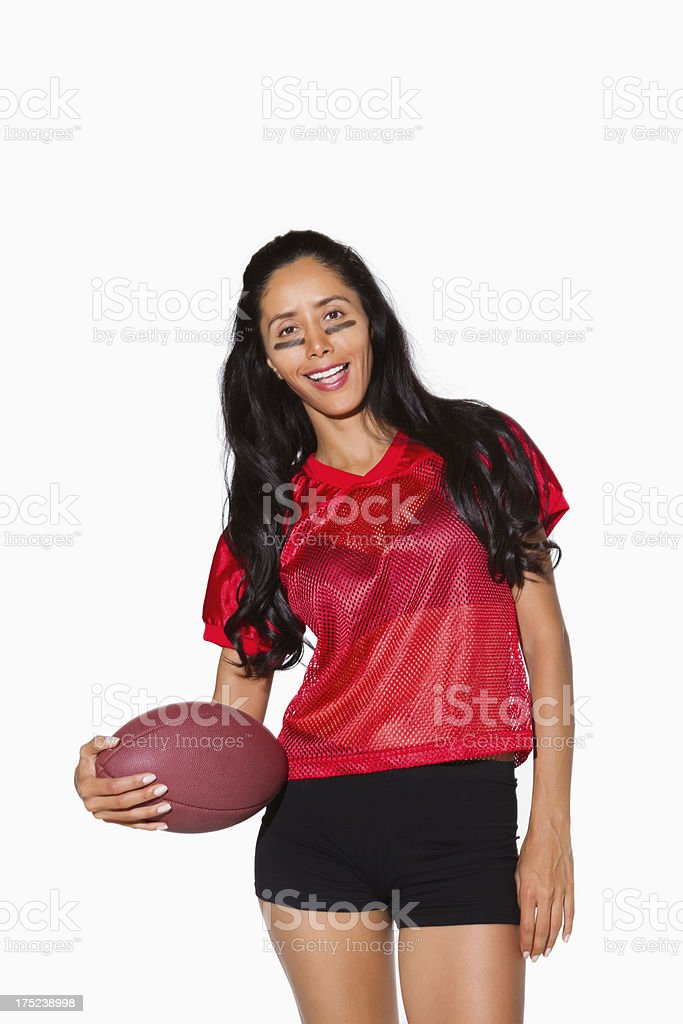 Young Woman Holding Rugby Ball royalty-free stock photo