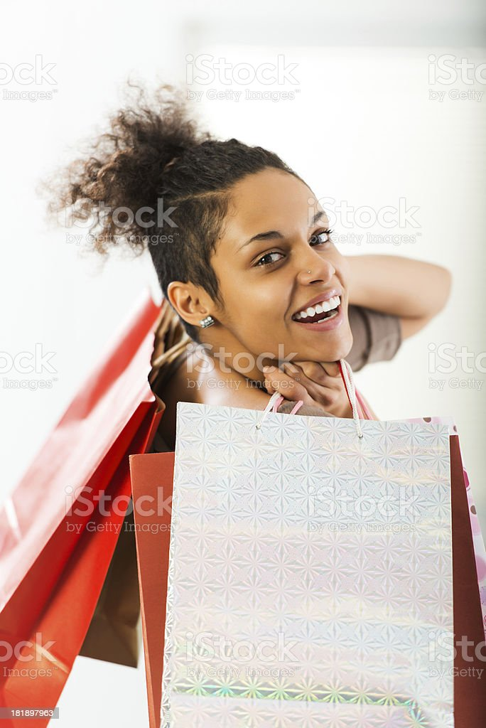 Young woman holding shopping bags. royalty-free stock photo