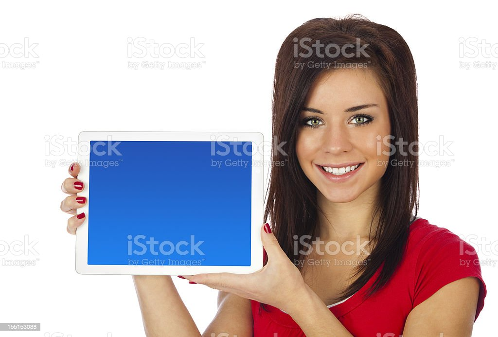 Young Woman Holding Tablet Computer, Blank Blue Screen royalty-free stock photo