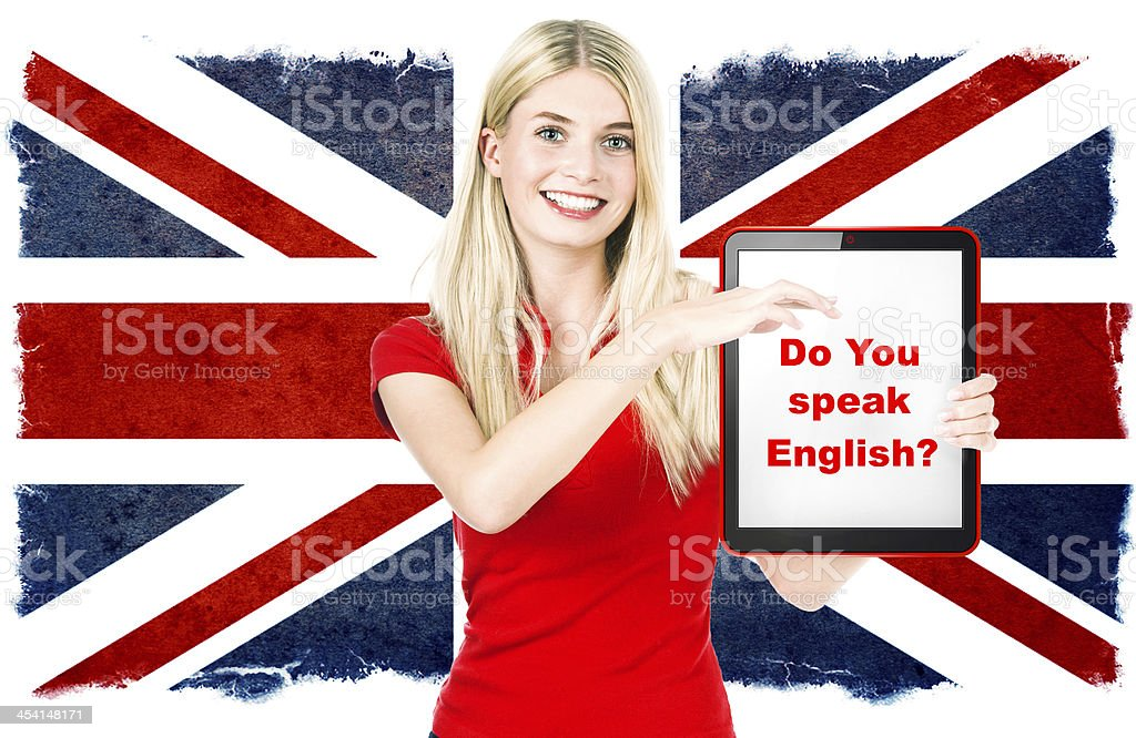 young woman holding tablet pc. british english learning concept stock photo