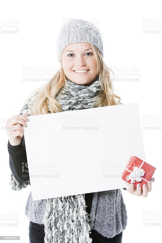 Young woman holding white board royalty-free stock photo