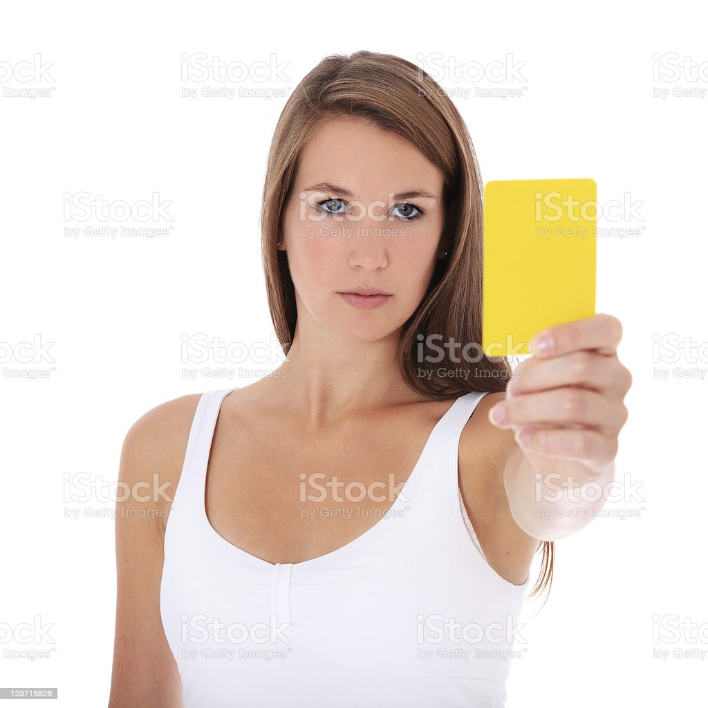 Young woman holding yellow card stock photo