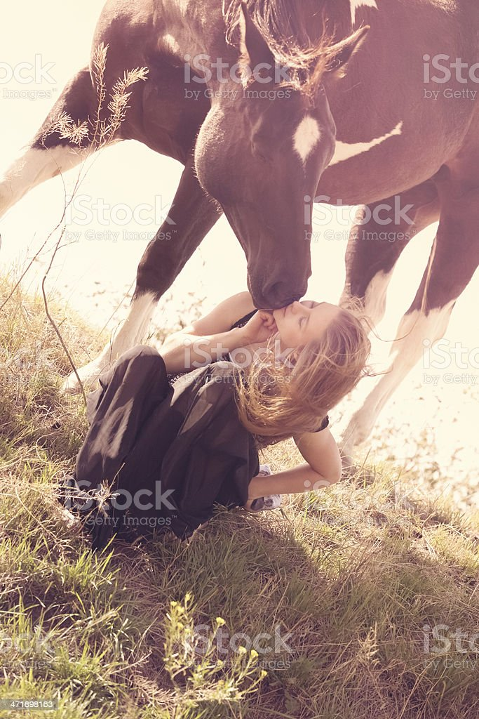 Young Woman Horse Lover royalty-free stock photo