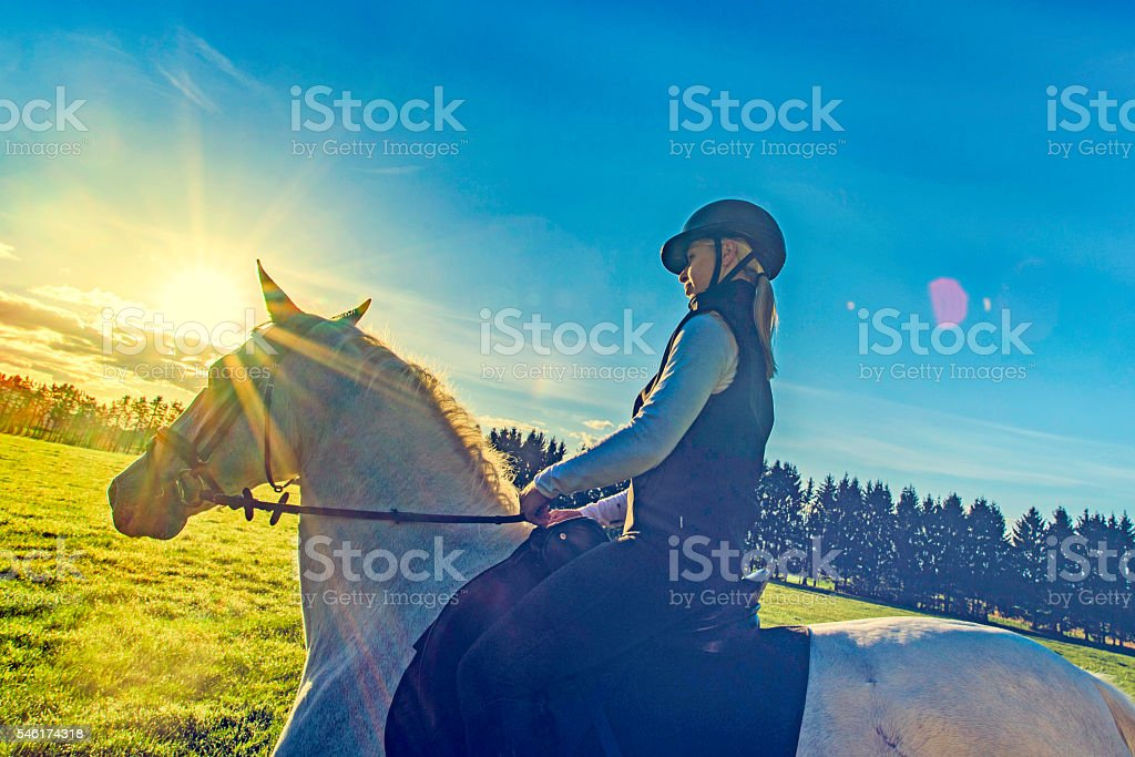 Young woman horseback riding in the countryside stock photo