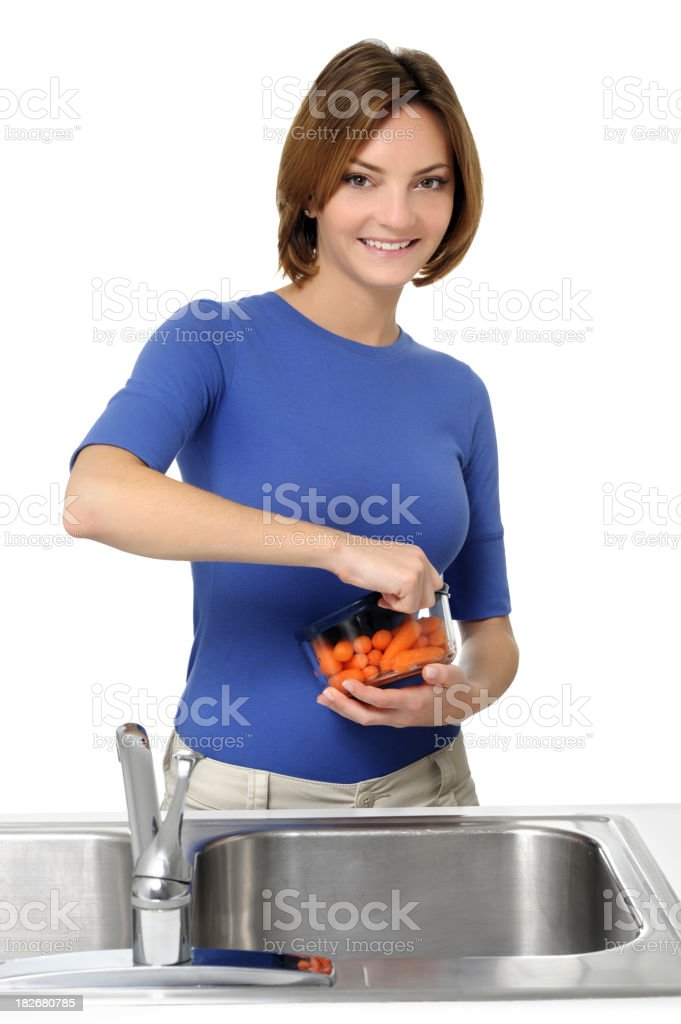 Young Woman Housewife Maid Washing Dishes Isolated on White Background royalty-free stock photo