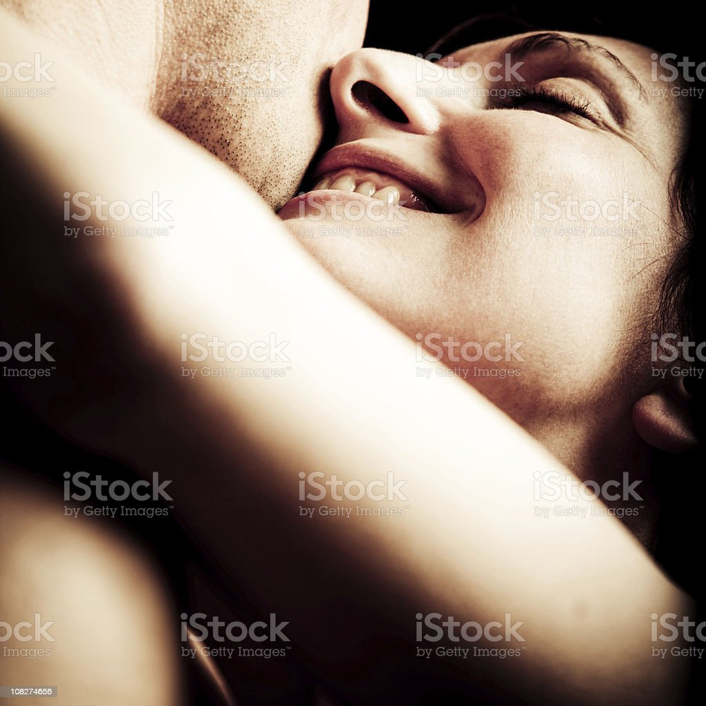 Young Woman Hugging and Embracing Man stock photo