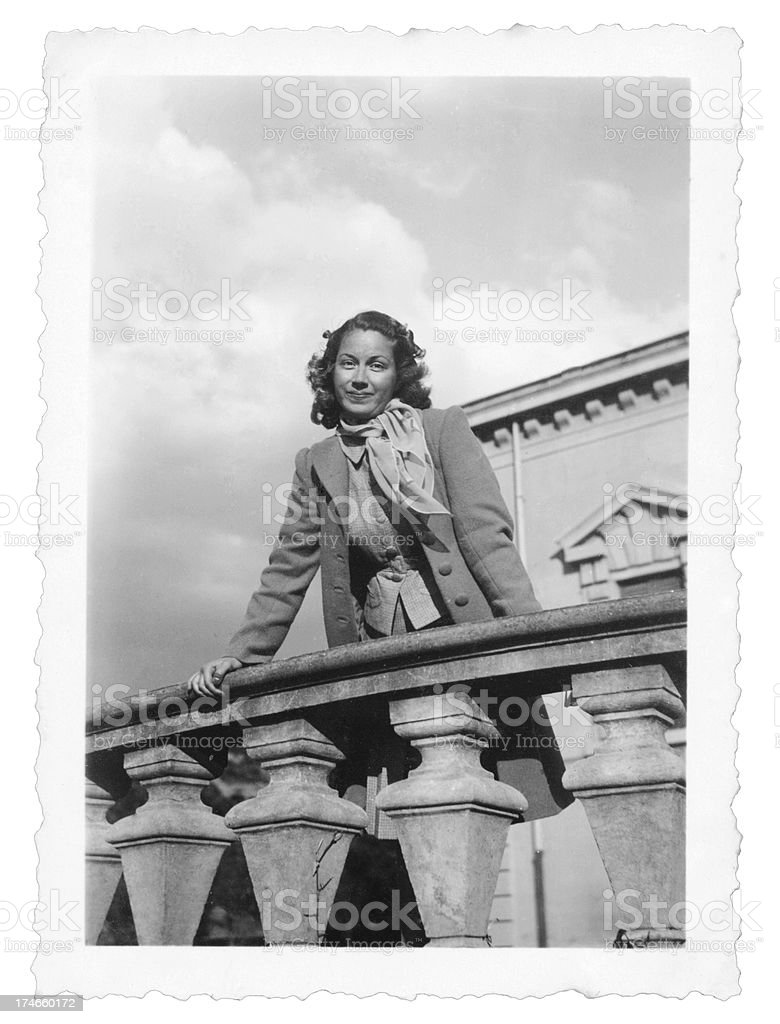 Young Woman in 1935,Black And White royalty-free stock photo