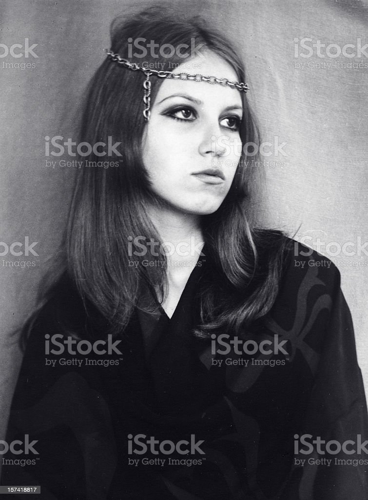 Young Woman in 1968,Black And White. stock photo