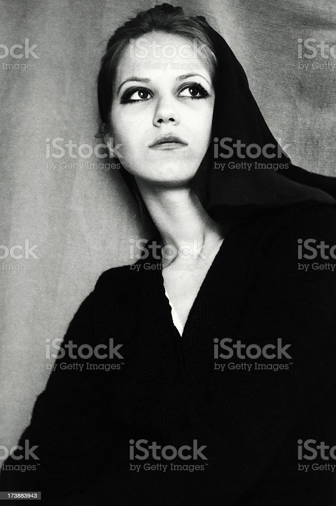 Young Woman in 1968,Black And White royalty-free stock photo