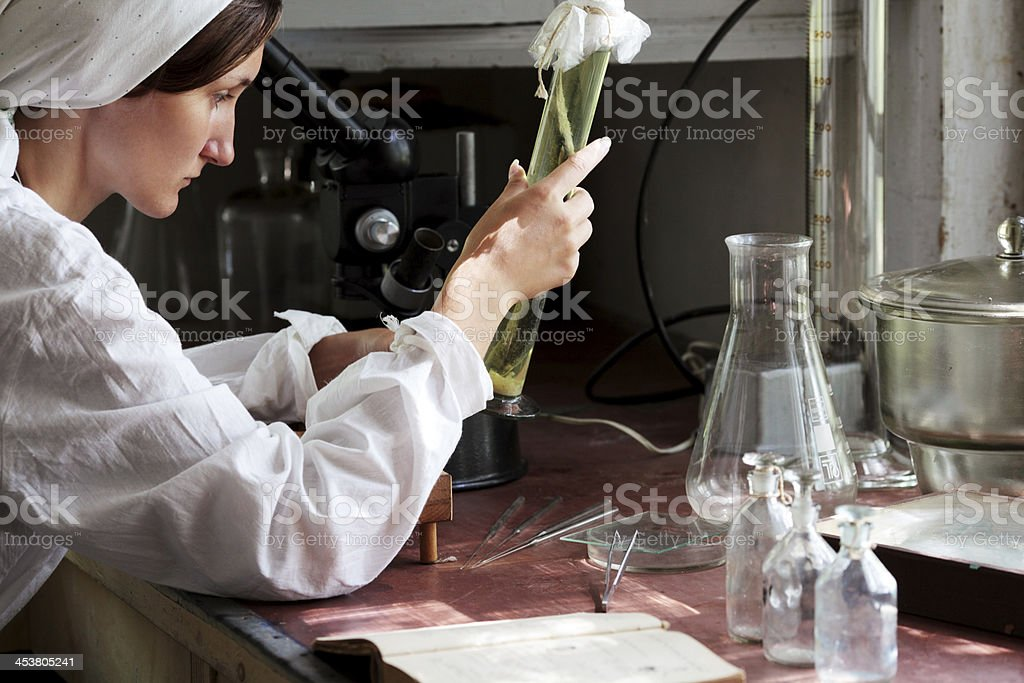young woman in a biology laboratory stock photo