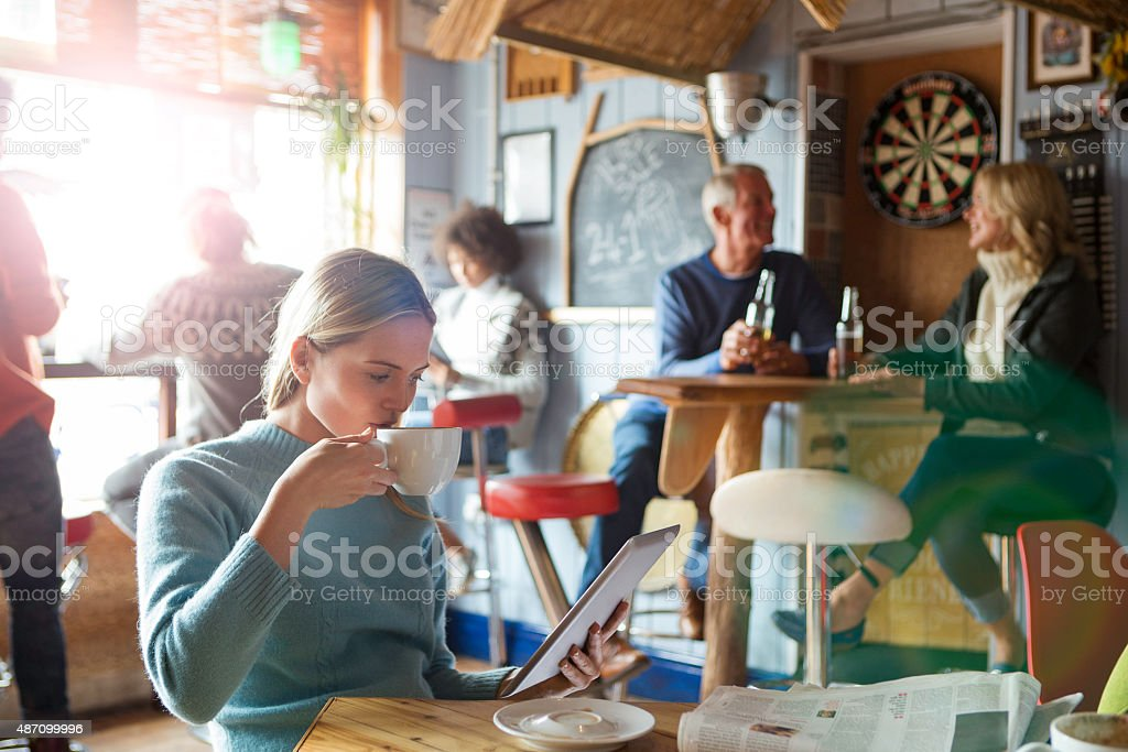 Young Woman in a Cafe stock photo