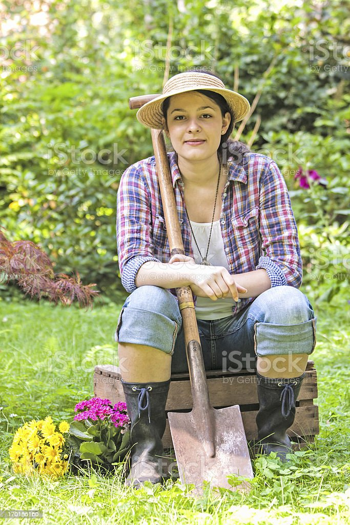 young woman in a garden stock photo