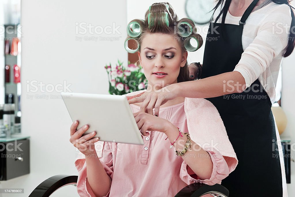 Young woman in a hair salon royalty-free stock photo
