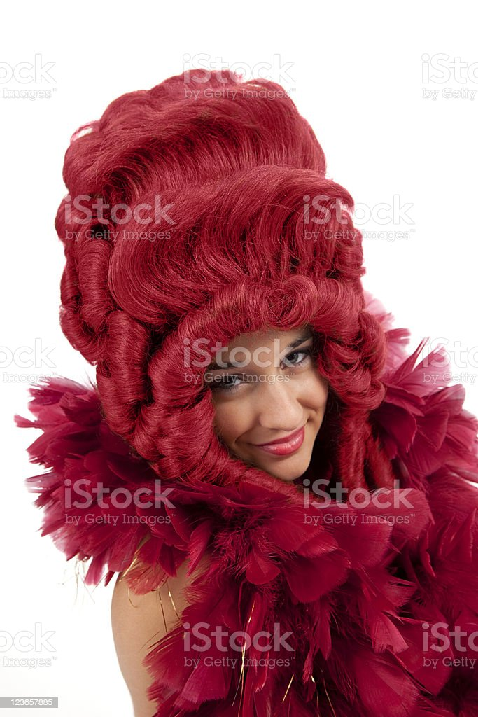 Young Woman in a Red Wig royalty-free stock photo