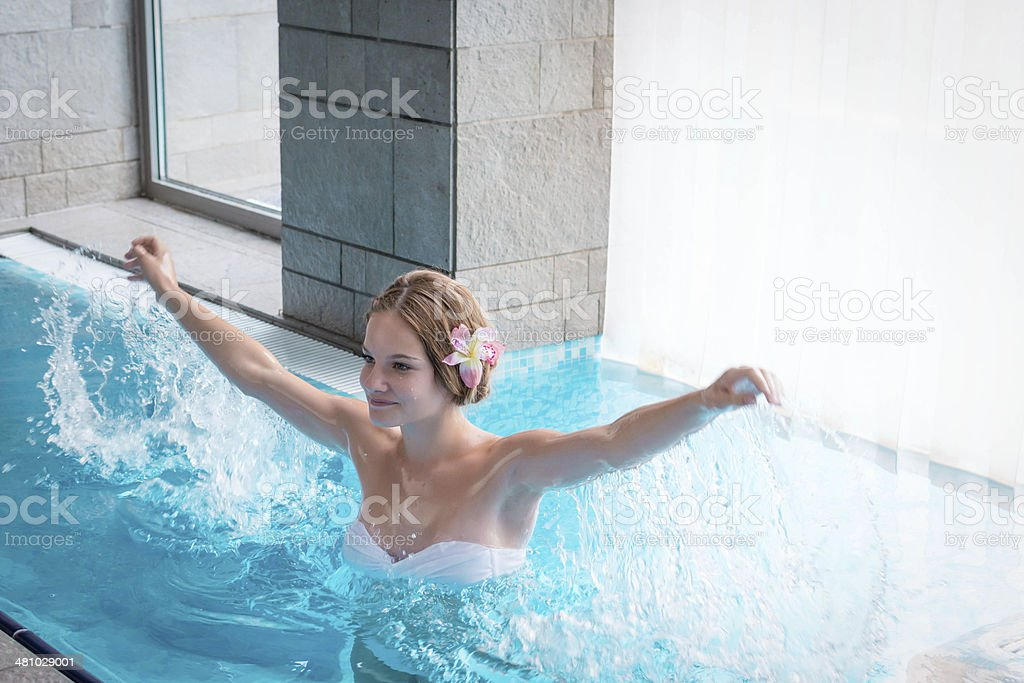 Young woman in a Spa pool royalty-free stock photo