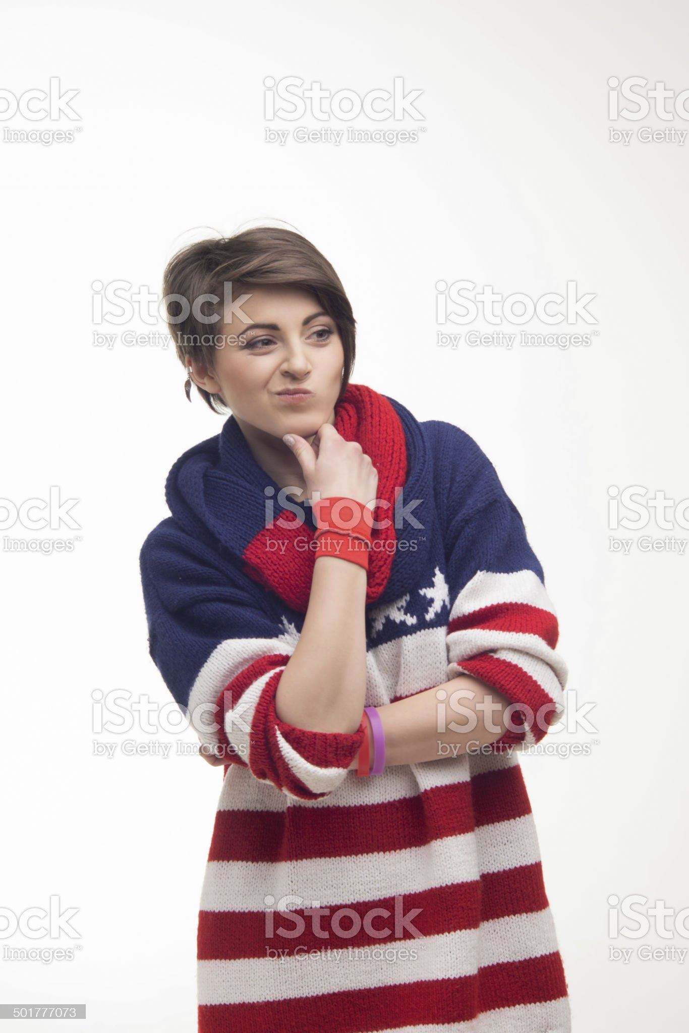 young woman in a striped pullover royalty-free stock photo