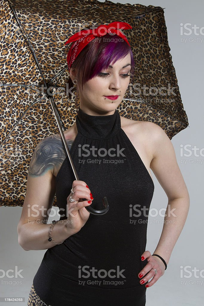 Young woman in a vintage look with umbrella royalty-free stock photo